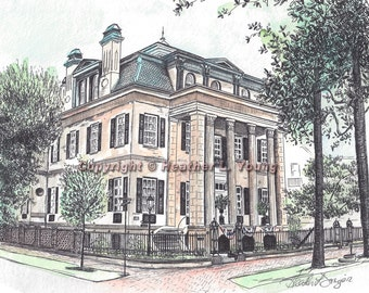 The Harper Fowlkes House Savannah Watercolor Print Drawing