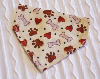 Dog Bandana with Bones Hearts & Pawprints Sizes XS to XL