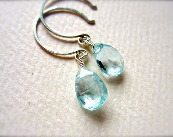 safe at sea earrings - aquamarine earrings, wire wrapped silver drop, handmade, spring fashion, march birthstone
