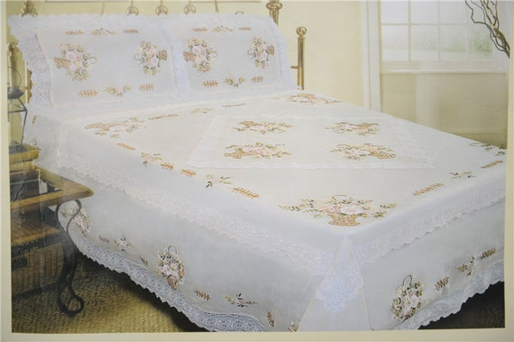 Sale Set Of 3 Ribbon Embroidery Lace Duvet Bed Cover Bedspread