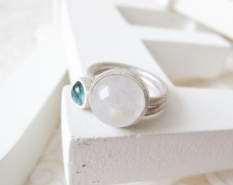 MOONSTONE & TOURMALINE rings