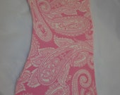 pink paisley flannel  burp cloth set with chenille