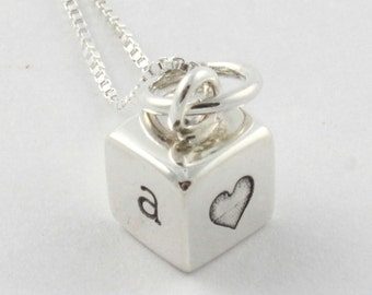 Personalized Tiny Four Sided Cube Hand Stamped Necklace - Custom Love Necklace - Mother's Day Gift