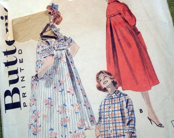1956 Vintage Sewing Pattern - Misses' Flared Duster with Back Bow Trim - Butterick 7957 / Size 16 Bust 36