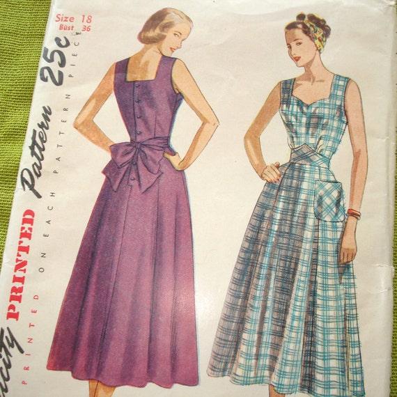 1948 Vintage Sewing Pattern - Sun Dress - House Dress Simplicity 2477 / Size 18  UNCUT FF