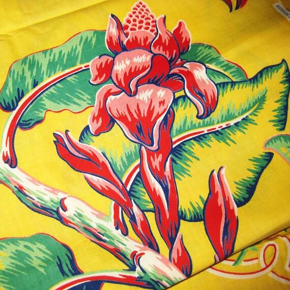 Vintage Cotton Hawaiian Print Fabric Large Tropical Flowers