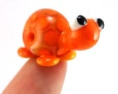 Little Orange Turtle Lampworked Glass Figurine Bead