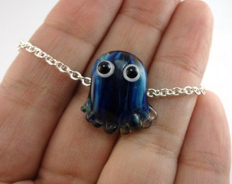 Blue Jellyfish Lampworked Glass Bead Necklace