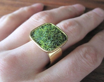 Lush Green Grass Gold Square Adjustable Wide Band Ring -the original