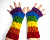 Bright Rainbow Fingerless Gloves, Long Arm Warmers