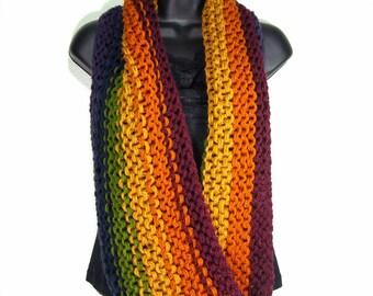 Rustic Rainbow Infinity Scarf, Long Knit Cowl