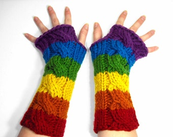 Bright Rainbow Fingerless Gloves, Long Arm Warmers