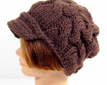 Slouchy Newsboy Hat with Visor, Cable Knit Men's or Women's Beanie