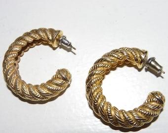 Gold Rope Hoop Earrings