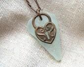 Seafoam Green Sea Glass and Copper Heart Necklace on Oxidized Copper Chain