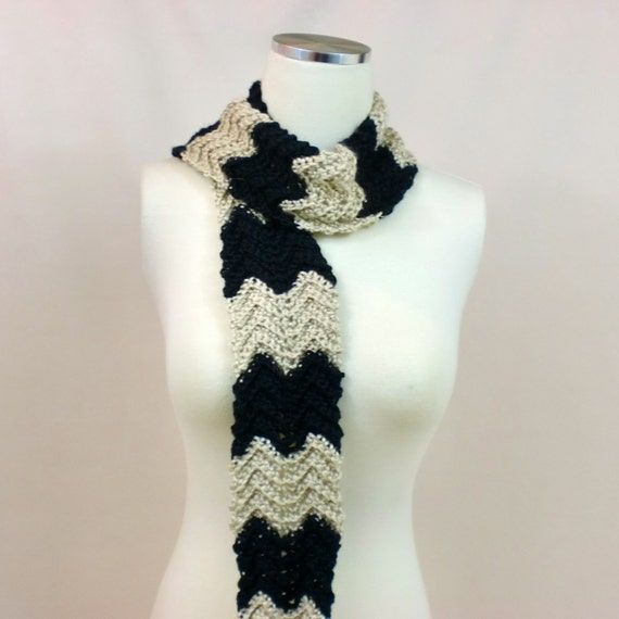 Crochet Zig Zag Scarf : Skinny Crochet Scarf, Zig Zag Stripes Neck Warmer, Black Tan Striped ...