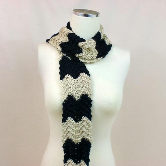 Skinny Crochet Scarf, Zig Zag Stripes Neck Warmer, Black Tan Striped ...