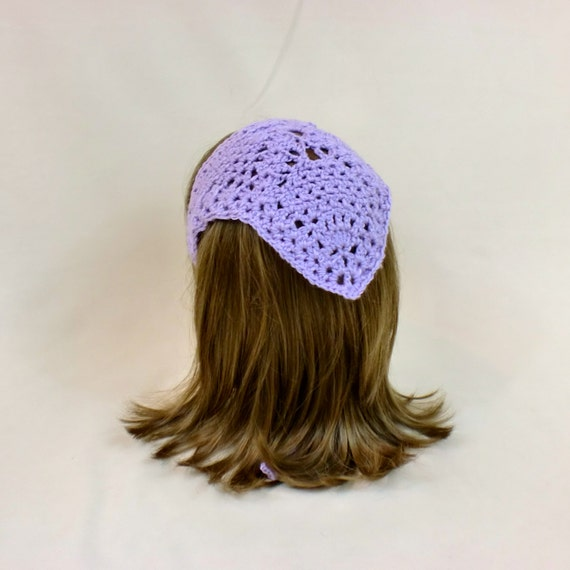 Crochet Hair Kerchief Pattern : Hair Kerchief, Purple Lace Bandana, Crochet Triangle Head Scarf ...