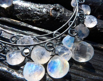 3 DAY SALE BIG rainbow moonstone chandelier earrings, Brazilian Jewelry