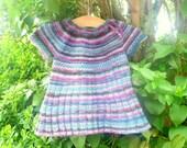 Knitting PATTERN Seamless Top Down BABY CHILD Tunic Dress - Iris a top down seamless yoked tunic dress sweater