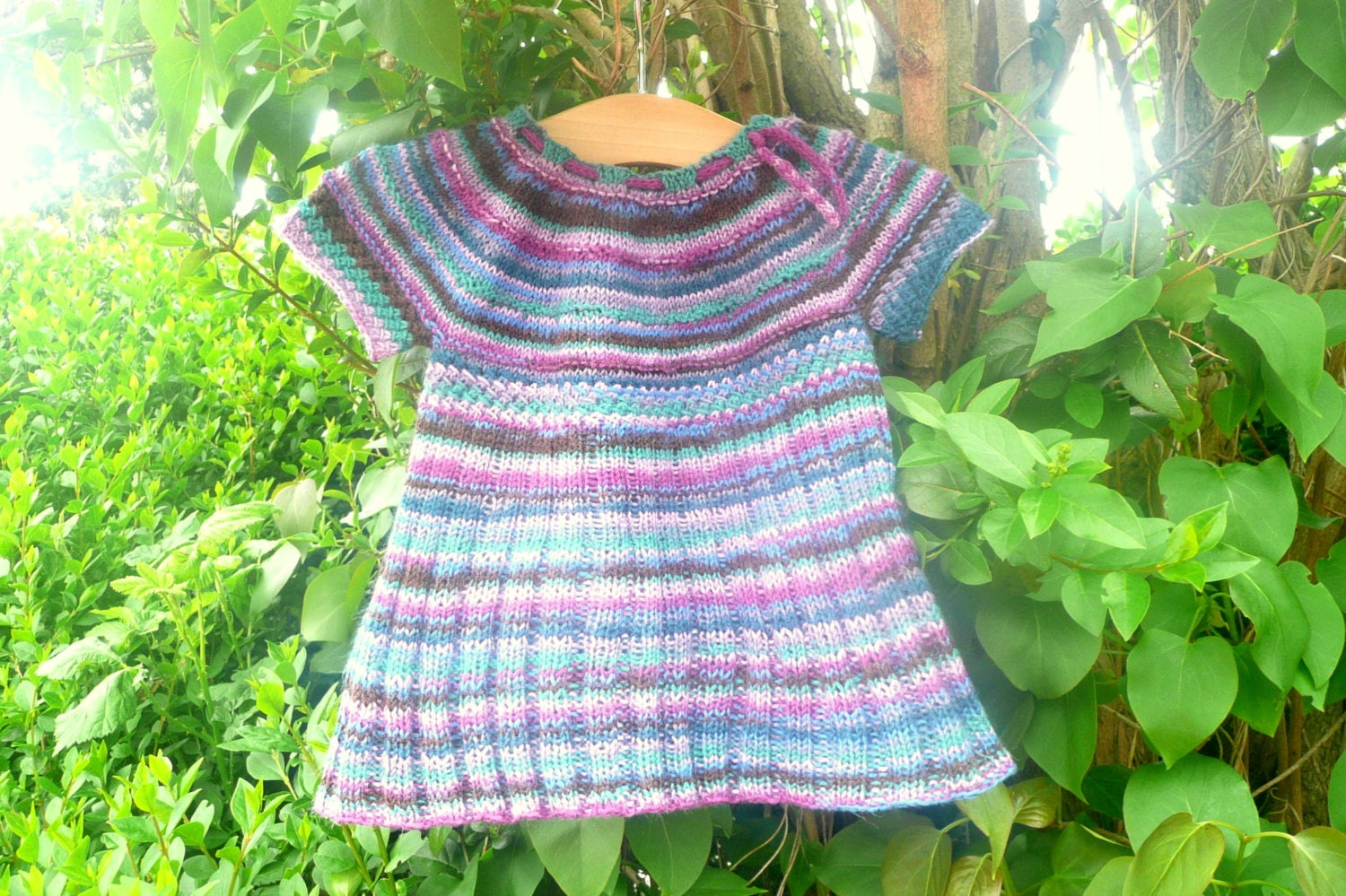 Knitting Top Down : Knitting pattern seamless top down baby child tunic dress