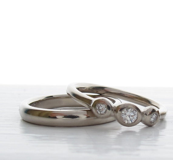 His and Hers  Wedding set - White Gold and Diamond 3 stone ring