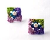 Crochet Earrings Mini Granny Square Stud Earrings Pink Teal Purple Light Green