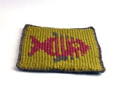 On Sale Marked Down 20% Knit and Crochet Coaster Personalized Pisces Zodiac Mug Rug Olive Green Rust Brown