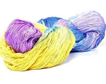 150 Yards Hand Dyed Cotton Crochet Thread Size 10 3 Ply Specialty Thread  Yellow Purple Blue Lavender Hand Painted Fine Cotton Yarn