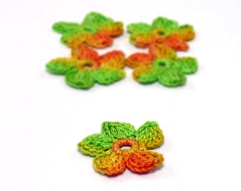 Crochet Applique Mini Flower Motif Flower Embellishment Crochet Flower Applique Green, Yellow, Orange Crochet Motif Crochet Flower Motif