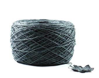 Crochet Thread 3 Ply Linen Thread Charcoal Grey Linen Yarn Specialty Thread Tatting Thread