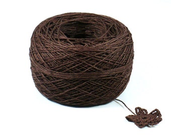 Crochet Thread 3 Ply Linen Thread Chocolate Brown Linen Yarn Specialty Thread Tatting Thread