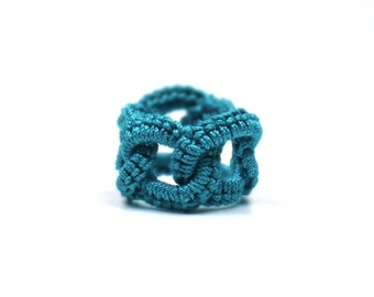 Crochet Ring Faux Chainmail Interlocking Circles Teal Fiber Band