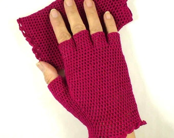 Crochet Gloves Retro Vintage Style Steampunk Lace Fishnet Fingerless Gloves Fuchsia Pink Spring Gloves Summer Gloves