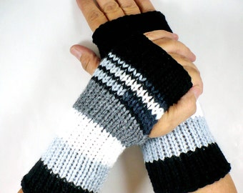 Knit Fingerless Mittens Black Striped Gloves White Warm Gloves Grey Fashion Accessories Silver Winter Gloves Womens Gloves Texting Gloves