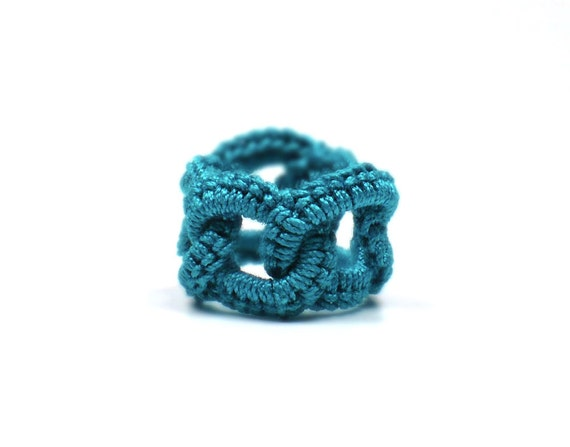 Crochet Ring Faux Chainmail Interlocking Circles Teal Fiber Band