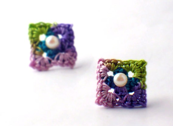 Crochet Earrings Mini Granny Square Stud Earrings Pink Teal Purple Light Green