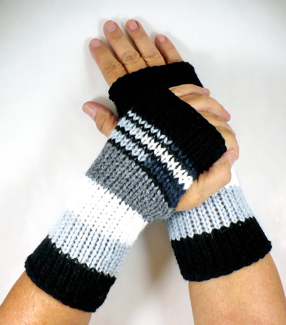 Knitting Patterns Striped Gloves : Knit Fingerless Mittens Black Striped Gloves White Warm Gloves