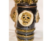 Horned Devotion Cup - Macabre Hand-built Ceramic Pot with molded faces and skulls