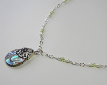 Silver Capped Shell, Pearl and Crystal Necklace