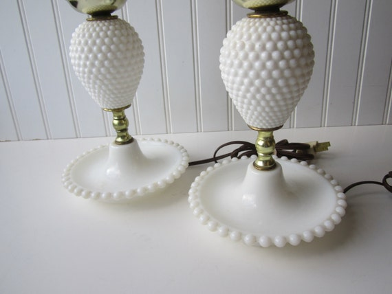 vintage milk glass hobnail lamp pair with by mymilkglassshop