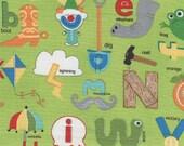 Green Apple Jack Alphabet Print 100% Cotton Quilting Fabric