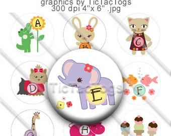Cute Alphabet Animal M2MG Bottle Cap Images Digital Collage 1 Inch Circle A-Z Digi 4X6 - Instant Download - BC103