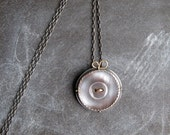 PENDANT sterling with vintage gray shell button and 18k gold bow