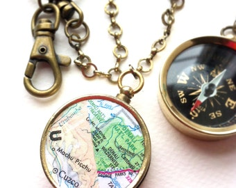 Personalized Keychain map compass, personalized double maps keychain long distance couples, personalized farewell gift