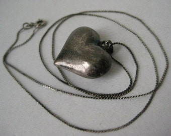 Heart Puffy Sterling Necklace Vintage Pendant 925