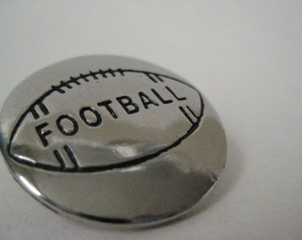 Football Silver Brooch Vintage Pin Tie Tack