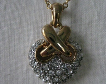 Heart Gold Silver Rhinestone Necklace Clear Vintage Pendant