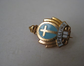 Cross Christian Brooch Spelling Enamel Gold Vintage Pin