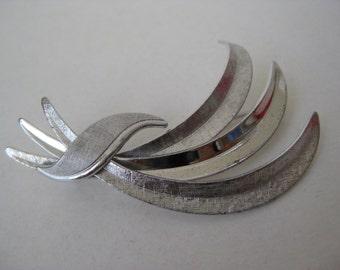 Leaves Sterling Silver Brooch Vintage Pin